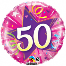 "50 Hot Pink Birthday Foil Balloon (18"") 1pc"